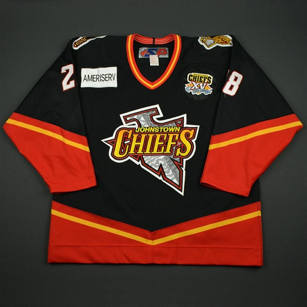 Courchesne, Pierre-Luc * <br>Black - w/Chiefs XV 1988-2003 Patch<br>Johnstown Chiefs 2002-03<br>#28 Size: 56