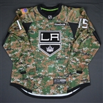 Andreoff, Andy<br>Camouflage, Military Appreciation Warm-up, November 12, 2015, Autographed<br>Los Angeles Kings 2015-16<br>#15 Size: 56
