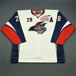 Betts, Kaleb<br>White Set 1 w/A<br>Elmira Jackals 2008-09<br>#28 Size: 56