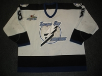 Lecavalier, Vincent * <br>White w/ 1999 NHL All Star Patch<br>Tampa Bay Lightning 1998-99<br>#8 Size: 58