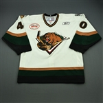 Crowder, Tim<br>White Set 1 w/ Inaugural Season at Maverik Center Patch<br>Utah Grizzlies 2010-11<br>#40 Size: 56