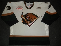 Denny, Chad<br>White Set 1 w/ Inaugural Season at Maverik Center Patch (A removed)<br>Utah Grizzlies 2010-11<br>#3 Size: 56