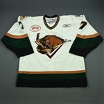 Fredricks, Jason<br>White Set 1 w/ Inaugural Season at Maverik Center Patch<br>Utah Grizzlies 2010-11<br>#7 Size: 54