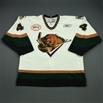 Kilburg, Brian<br>White Set 1 w/ Inaugural Season at Maverik Center Patch<br>Utah Grizzlies 2010-11<br>#44 Size: 56