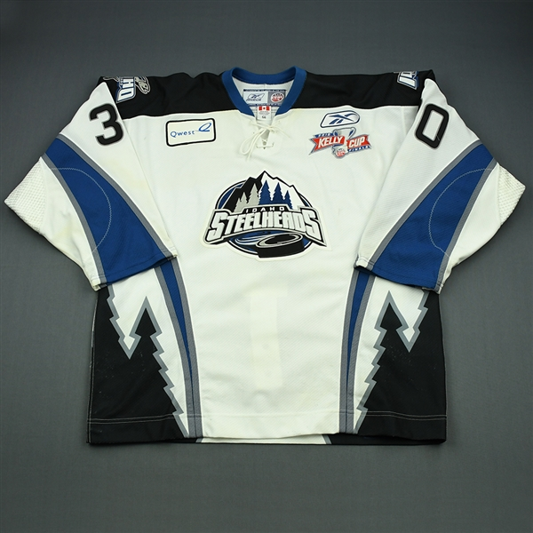 DeVergilio, Kevin<br>White Kelly Cup Finals - Game 1 & 2<br>Idaho Steelheads 2009-10<br>#30 Size:56