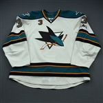 Murray, Douglas * <br>White Worn 9-22-2010 through 4-10-2011<br>San Jose Sharks 2010-11<br>#3 Size: 58+