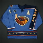Kozlov, Slava<br>Third Set 1 w/A, w/Dan Snyder and Thrashers Fifth Season patches<br>Atlanta Thrashers 2003-04<br>#13 Size: 54
