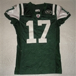 Burress, Plaxico<br>Green, worn Dec. 11, 2011 vs. Kansas City<br>New York Jets 2011<br>#17 Size: 44