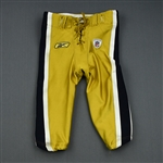 Holmes, Santonio<br>Gold Titans Throwbacks, worn Sept. 18 vs. Jacksonville<br>New York Jets 2011<br>#10 Size: 30