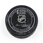 Columbus Blue Jackets Game-Used Puck<br>December 4, 2015 vs. Florida Panthers (Blue Jackets Logo)<br>Columbus Blue Jackets 2015-16