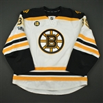 Beleskey, Matt<br>White Set 3 / Playoffs w/ NHL Centennial & Milt Schmidt Memorial Patches<br>Boston Bruins 2016-17<br>#39 Size: 56