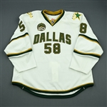 Benn, Jordie<br>White Set 1 w/ 20th Anniversary Patch<br>Dallas Stars 2012-13<br>#58