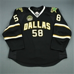 Benn, Jordie<br>Black Set 1 w/ 20th Anniversary Patch<br>Dallas Stars 2012-13<br>#58