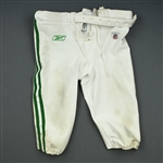 Justice, Winston<br>1960 White and Kelly Green Throwback Pants<br>Philadelphia Eagles 2010<br>#74 Size: 10-48 Big Boy