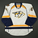 Aberg, Pontus<br>White Set 1 w/ NHL Centennial Patch - 1st NHL Goal<br>Nashville Predators 2016-17<br>#46 Size: 56