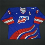 Tkachuk, Keith * <br>Blue w/A, World Cup of Hockey,  Pre-Tournament Worn, Autographed<br>Team USA 1996<br>#17 Size: 58