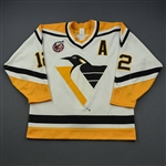 Errey, Bob * <br>White w/ A - 100th Anniversary Stanley Cup Patch<br>Pittsburgh Penguins 1992-93<br>#12 Size: 48