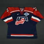 Schneider, Mathieu * <br>Blue, World Cup of Hockey, Game-Issued<br>Team USA 2004<br>#23 Size: 54