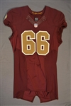 Chester, Chris<br>Burgundy Throwback worn October 19, 2014 vs. Tennessee Titans<br>Washington Redskins 2014<br>#66 Size:46 LINE