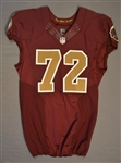 Bowen, Stephen<br>Burgundy Throwback worn October 19, 2014 vs. Tennessee Titans<br>Washington Redskins 2014<br>#72 Size:48 LINE