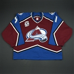Budaj, Peter * <br>Burgundy Set 2 w/ Avalanche 10 year patch Rookie Season,<br>Colorado Avalanche 2005-06<br>#31 Size: 58G