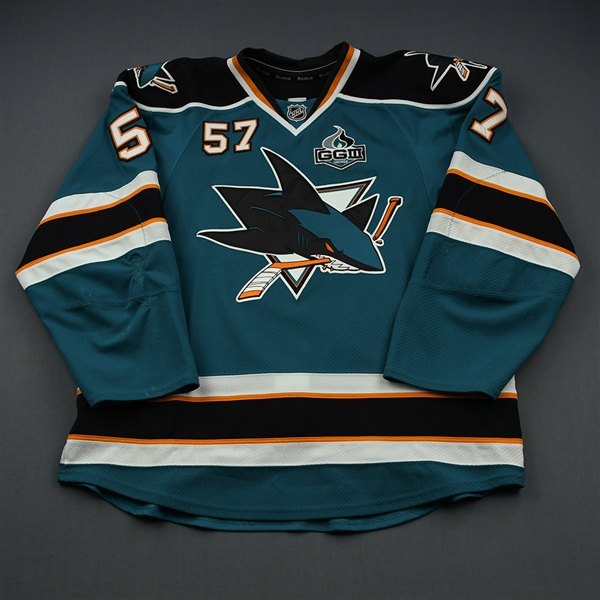 Wingels, Tommy * <br>Teal w/GG III Memorial Patch<br>San Jose Sharks 2012-13<br>#57 Size: 56