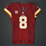 Cousins, Kirk<br>Burgundy - worn September 12, 2016 vs. Pittsburgh Steelers w/ Captains C<br>Washington Redskins 2016<br>#8 Size:40 Q-BK