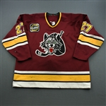 Plante, Dan * <br>Maroon, w/ PHPA 30th Anniversary Patch<br>Chicago Wolves 1998-99<br>#27 Size: 56