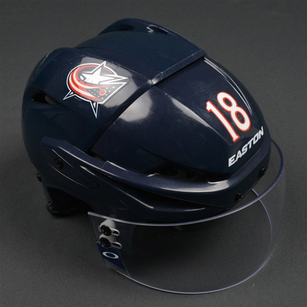 Bourque, Rene<br>Blue, Easton Helmet w/ Oakley Shield<br>Columbus Blue Jackets 2015-16<br>#18