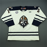 Wiebe, Shayne<br>White Set 1<br>Greenville Road Warriors 2012-13<br>#15 Size: 56