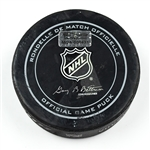 Columbus Blue Jackets Game-Used Puck<br>December 1, 2014 vs. Florida Panthers (Blue Jackets Logo)<br>Columbus Blue Jackets 2014-15
