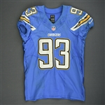Freeney, Dwight<br>Powder Blue - worn October 19, 2014 vs. Kansas City Chiefs<br>San Diego Chargers 2014<br>#93 Size: 42 SKILL