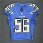Butler, Donald<br>Powder Blue - worn October 19, 2014 vs. Kansas City Chiefs<br>San Diego Chargers 2014<br>#56 Size: 44 L-BK