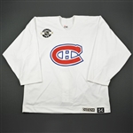 Courtnall, Russ * <br>White MegaStars Practice Jersey<br>Montreal Canadiens 2003-04<br>#6 Size: 54