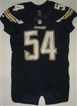 Ingram, Melvin<br>Navy - worn November 16, 2014 vs. Oakland Raiders<br>San Diego Chargers 2014<br>#54 Size: 44 SKILL