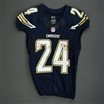 Mathews, Ryan<br>Navy - worn November 23, 2014 vs. St. Louis Rams<br>San Diego Chargers 2014<br>#24 Size: 40 L-BK