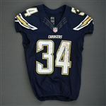 Brown, Donald<br>Navy - worn December 14, 2014 vs. Denver Broncos<br>San Diego Chargers 2014<br>#34 Size: 42 L-BK
