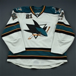 Nichol, Scott * <br>White, with 20-Year Anniversary Patch, Photo-Matched<br>San Jose Sharks 2010-11<br>#21 Size: 54