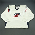 DiPietro, Rick - NOBR * <br>White - Olympics - worn 2/19/06 vs. Sweden - Photo-Matched<br>Team USA 2006<br>#29