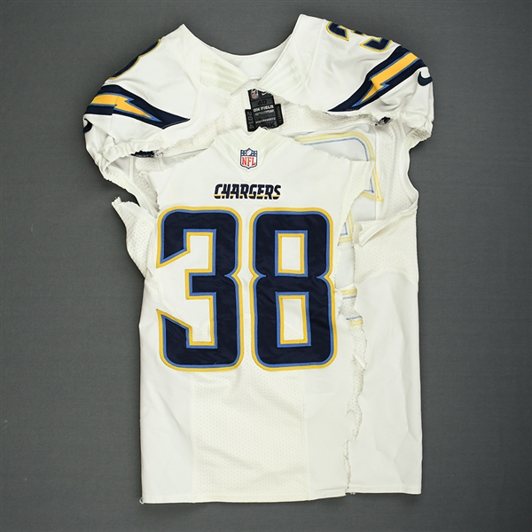 Gilchrist, Marcus<br>White - Worn December 29, 2014 vs. Kansas City Chiefs<br>San Diego Chargers 2014<br>#38 Size: 40 L-BK