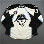 Blum, Jonathon * <br>White - AHL 75 Seasons Patch - Photo-Matched<br>Milwaukee Admirals 2010-11<br>#3 Size: 54