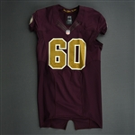 Black, Jordan<br>Burgundy and Gold Throwback worn November 4, 2012 vs. Carolina<br>Washington Redskins 2012<br>#60 Size: 46