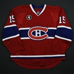 Parenteau, PA *<br>Red Set 3 - w/ Jean Beliveau Patch <br>Montreal Canadiens 2014-15<br>#15 Size: 56