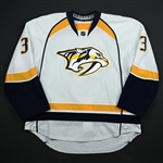 Jones, Seth *<br>White Set 1 - Photo-Matched<br>Nashville Predators 2014-15<br>#3 Size: 58
