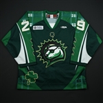 Sivak, Peter *<br>Green- St. Patricks Day<br>Orlando Solar Bears 2014-15<br>#29 Size: 54