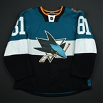 Kennedy, Tyler *<br>Teal - Stadium Series Period 1<br>San Jose Sharks 2014-15<br>#81 Size: 54
