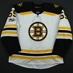 Acciari, Noel<br>White Set 1 w/ NHL Centennial Patch <br>Boston Bruins 2017-18<br>#55 Size: 56