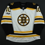 Bjork, Anders<br>White Set 1 w/ NHL Centennial Patch - 1st NHL Goal <br>Boston Bruins 2017-18<br>#10 Size: 56