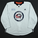 adidas<br>White Practice Jersey w/ OhioHealth Patch <br>Columbus Blue Jackets 2017-18<br> Size: 58