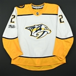 Bitetto, Anthony<br>White Set 1 w/ NHL Centennial Patch<br>Nashville Predators 2017-18<br>#2 Size: 56